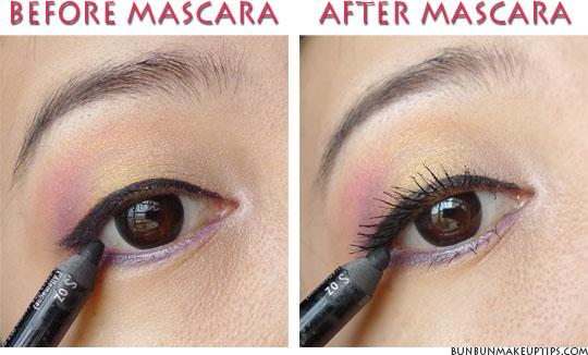 how to put mascara on left eye