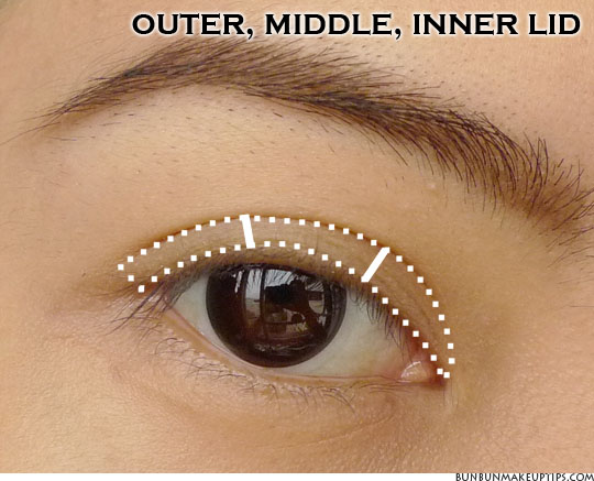 eye makeup placement for outer, middle, inner lid