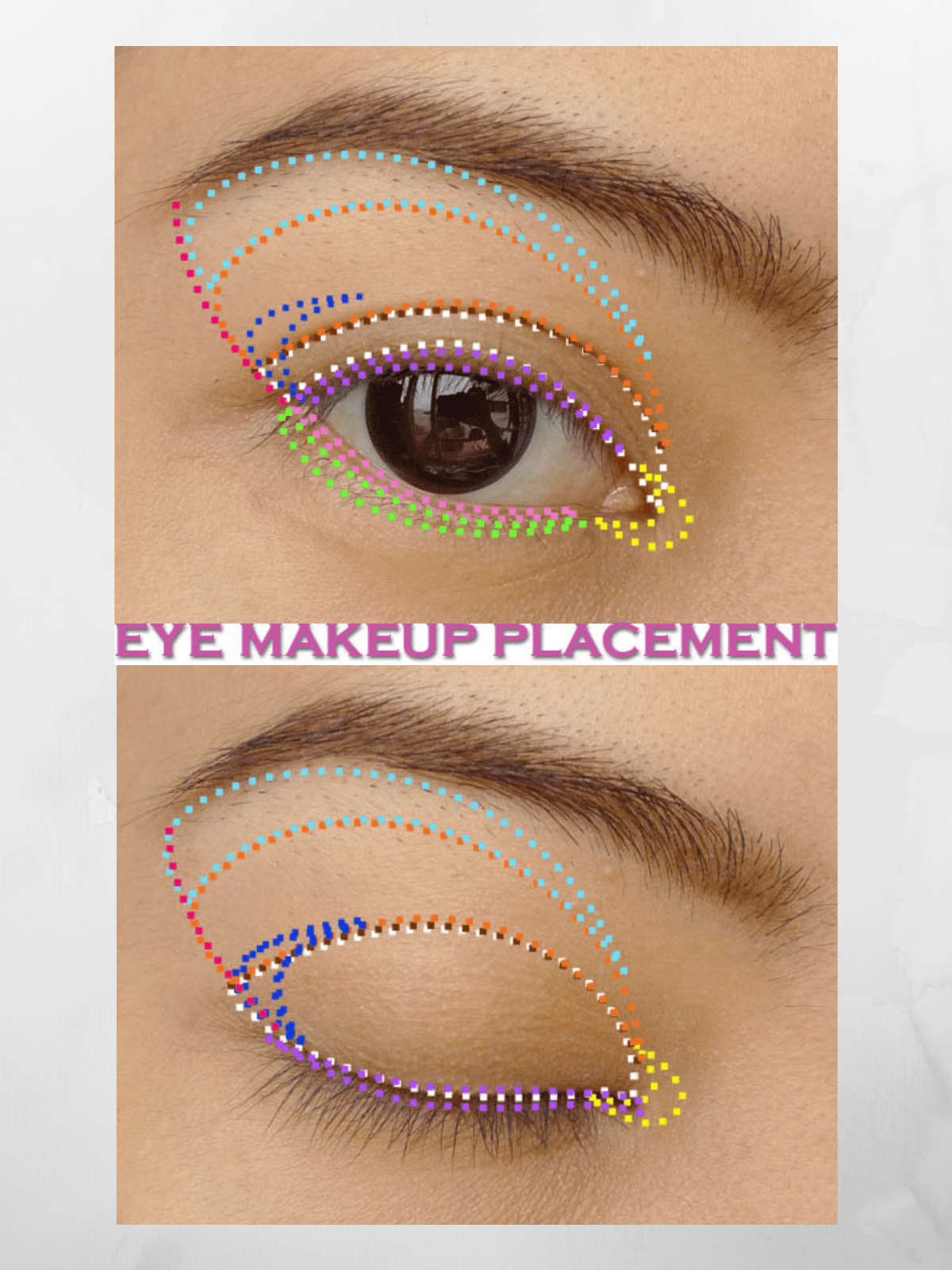 eye makeup placement chart asian open and closed eye