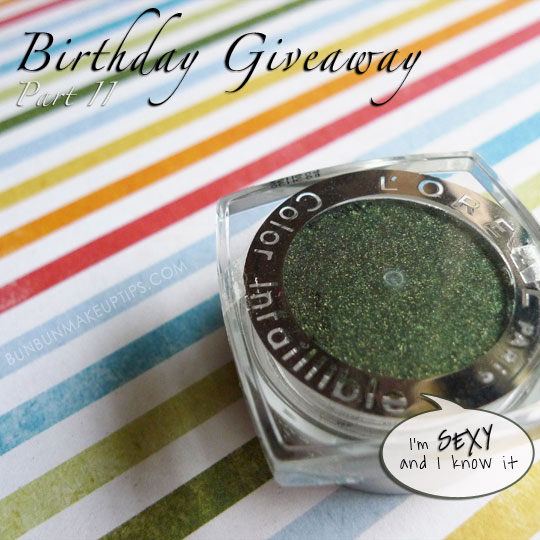 Birthday-Giveaway_The-Brush-Guard,-Loreal-Color-Infallible-Emerald-Lame,-Kate-Gel-Eye-Shadow,-elf-Translucent-Matifying-Powder
