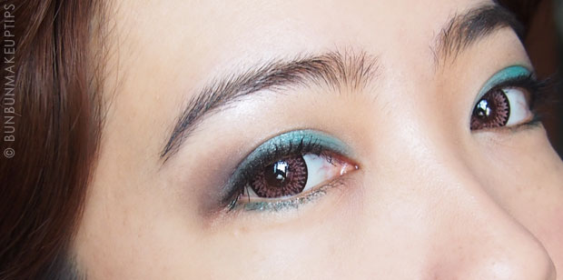 FOTD_Maybelline-Tenacious-Teal,-Sleek-Apple-Green,-Make-Up-Geek-Cocoa-Bear,-MAC-Shroom,-Lioele-Dollish-Veil-Vita,-Tarte-Blissful,-Shu-Uemura-SS-OR-541-3