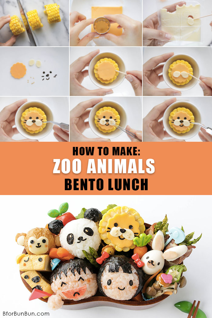 Step-by-step guide on how to make a super cute bento with zoo animals to put a smile on your kid's face! | BforBunBun.com #bento #foodart #charaben