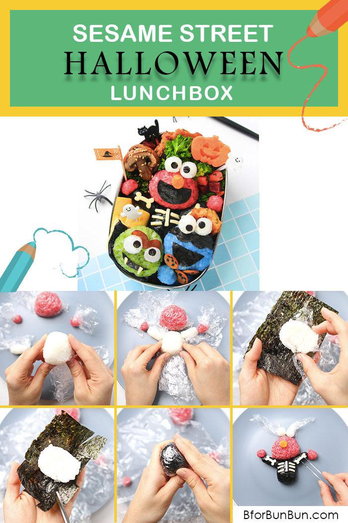 Make a Sesame Street Halloween bento using all natural food ingredients! www.BforBunBun.com #halloween #foodart #tutorial #lunchideas