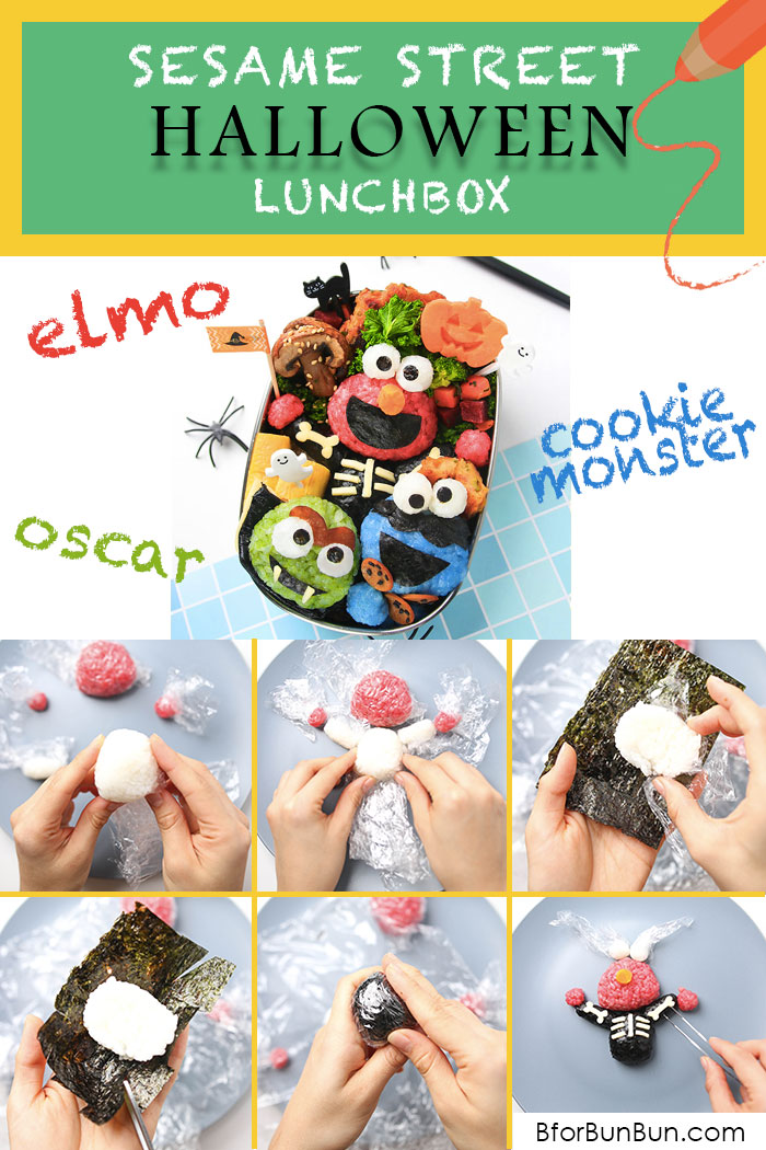 Bento tutorial on how to make Sesame Street characters Elmo, Cookie Monster, Oscar the Grouch!