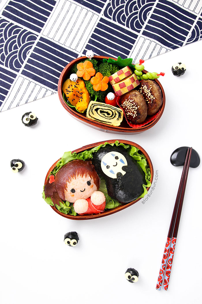 Bento Tutorial: Spirited Away Chihiro & No Face. Fill the second lunchbox layer with home made Japanese dishes!