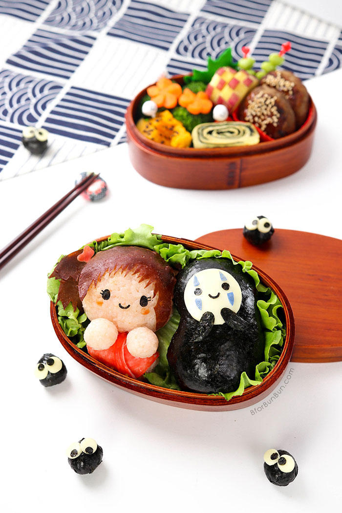 Chihiro, No-Face, Soot Sprites from Spirited Away Bento. Full tutorial on bforbunbun.com.