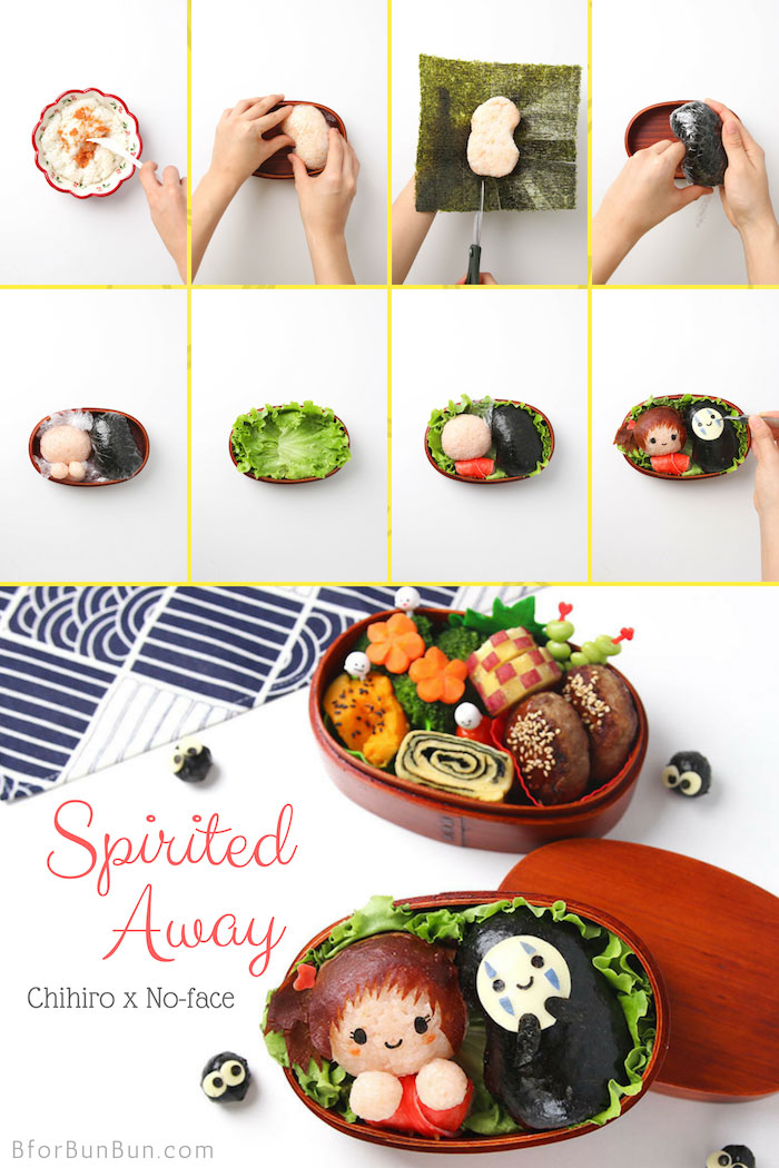 Charaben tutorial on how to make Chihiro and No Face Bento from Spirited Away #bento #foodart
