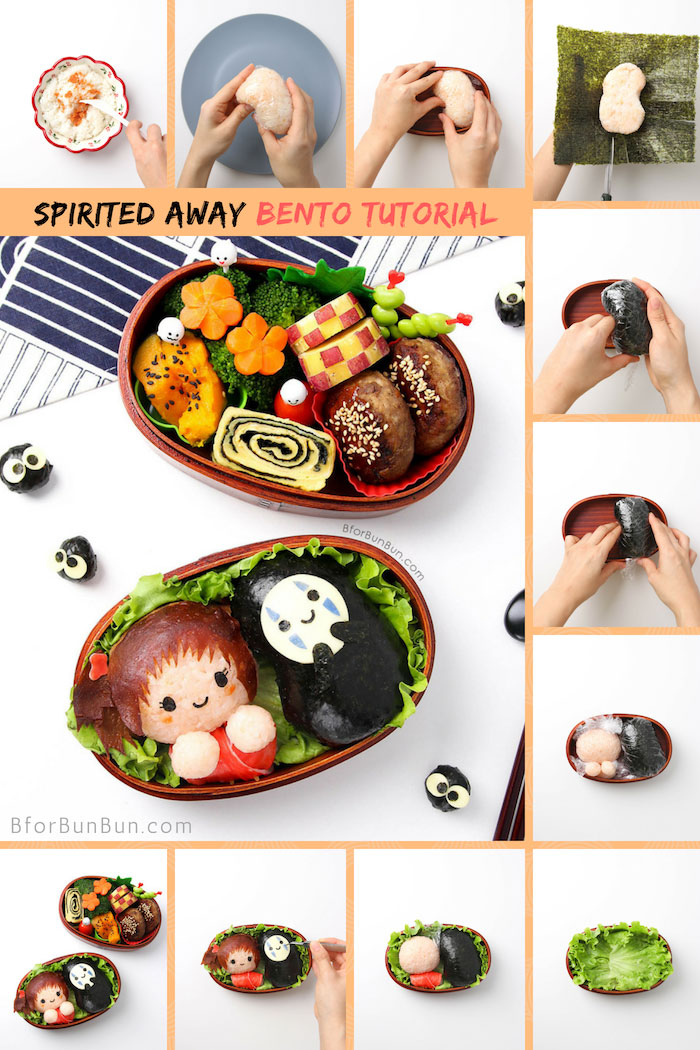 Halloween lunch idea - Spirited Away No-face and Chihiro Bento