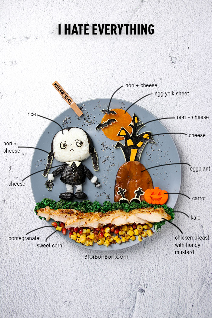 Don't you just love Wednesday Addams with her pallid skin, dark eye circles, and deadpan expression? Make her into LUNCH! BforBunBun.com