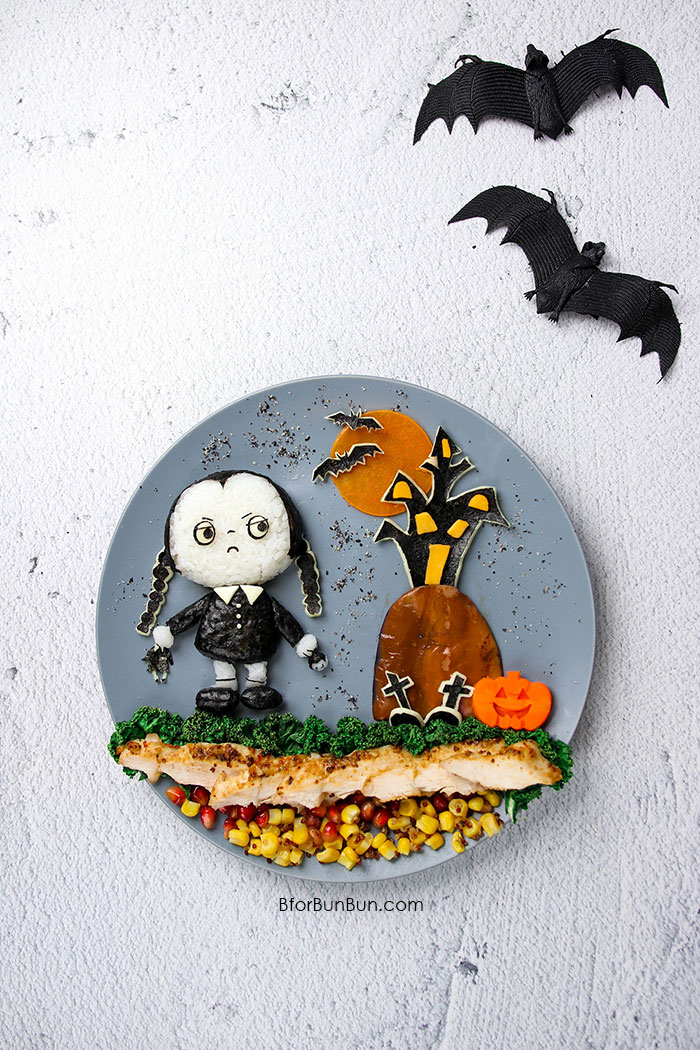 Make Halloween lunch fun with this easy Wednesday Addams dish! Detailed tutorial on BforBunBun.com