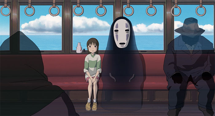 Chihiro and No-Face in the train ride to see Zeniba. Tutorial on how to make a bento out of this!