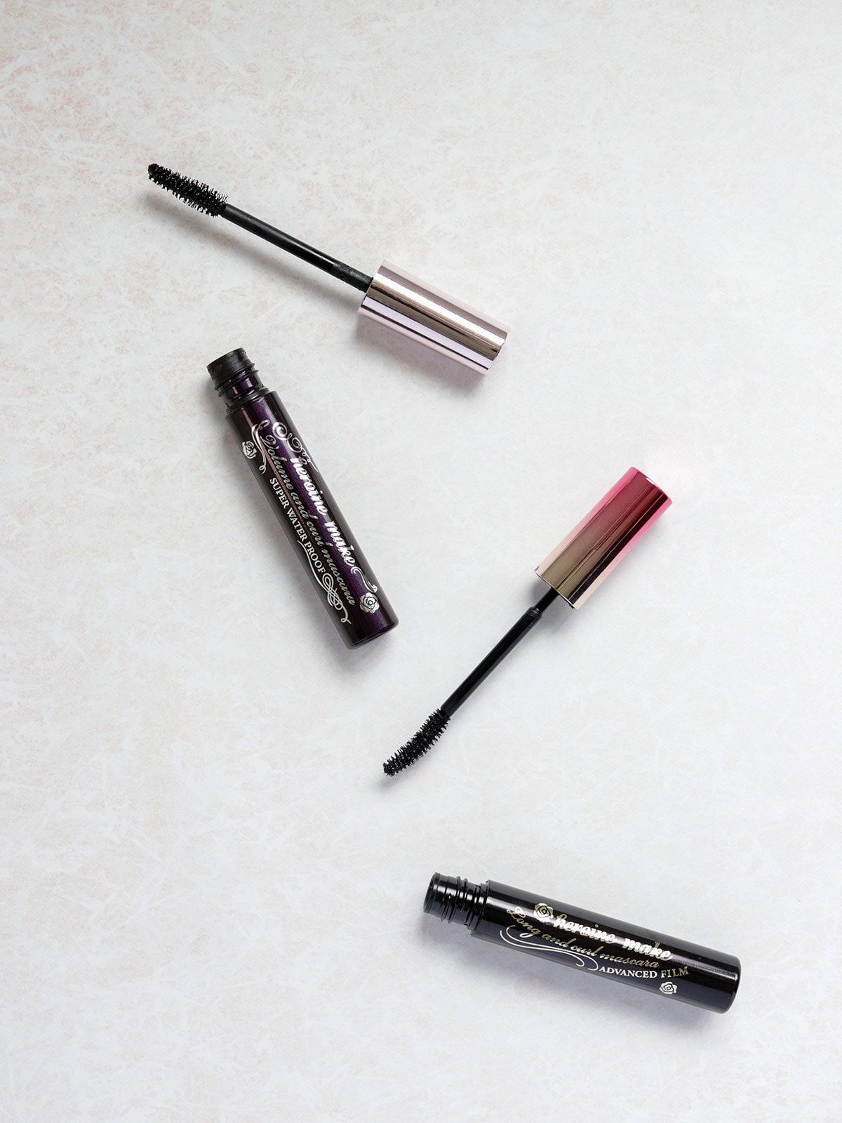 two mascara tubes from heroine makeup brand